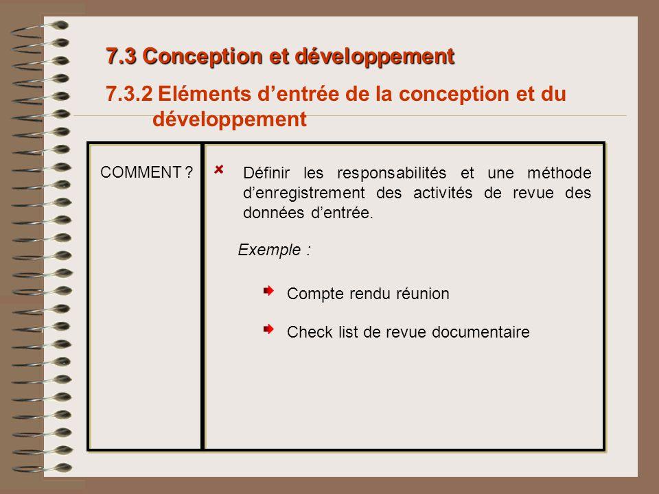 7.3 Conception et développement