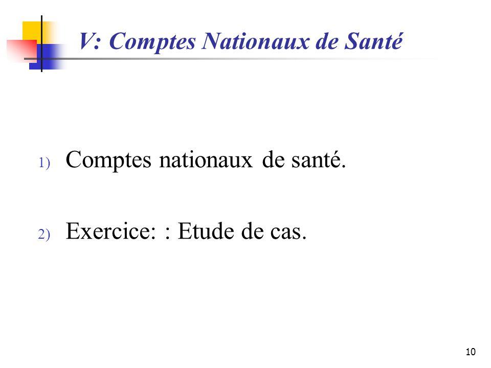 V: Comptes Nationaux de Santé