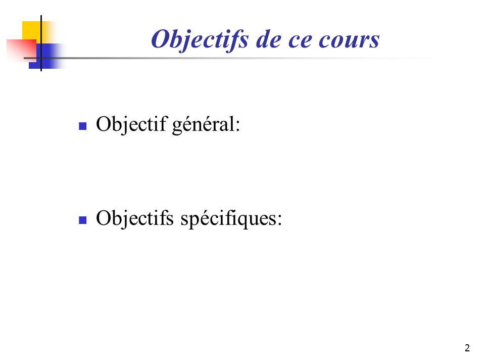Objectifs de ce cours Objectif général: Objectifs spécifiques: