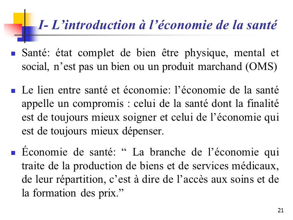 I- L'introduction à l'économie de la santé