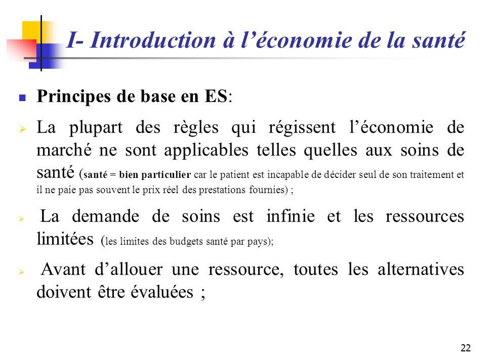 I- Introduction à l'économie de la santé