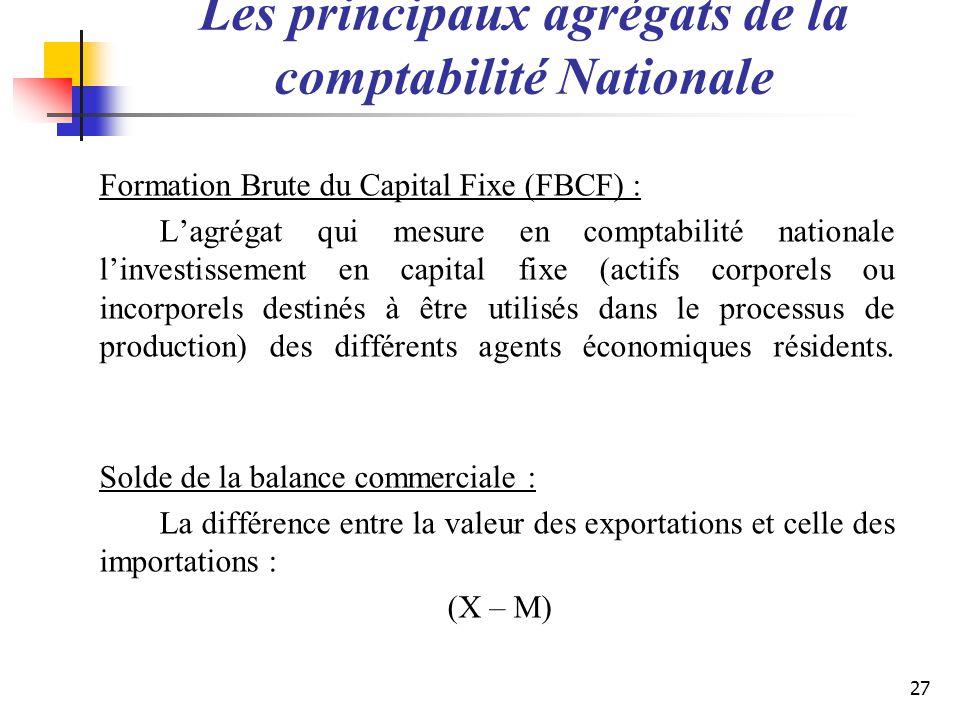 Les principaux agrégats de la comptabilité Nationale