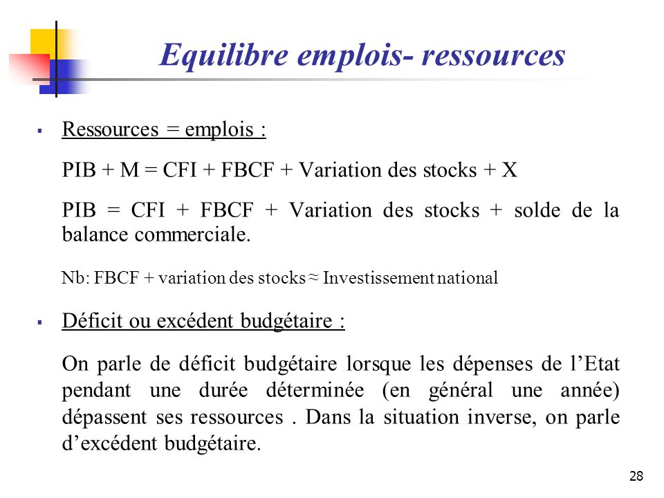 Equilibre emplois- ressources
