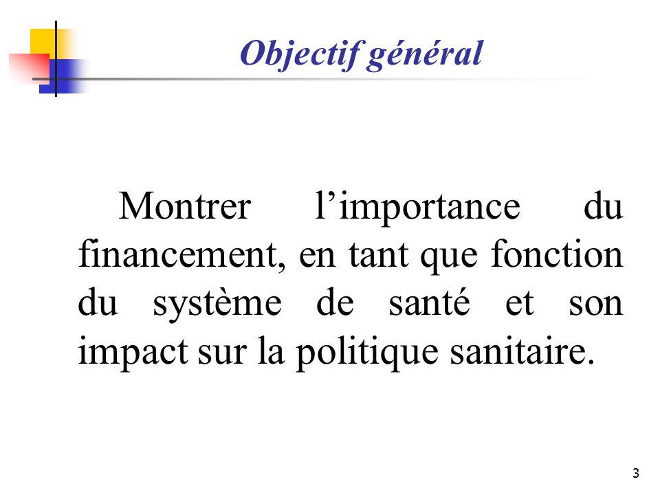 Objectif général Montrer l'importance du financement, en tant que fonction du système de santé et son impact sur la politique sanitaire.