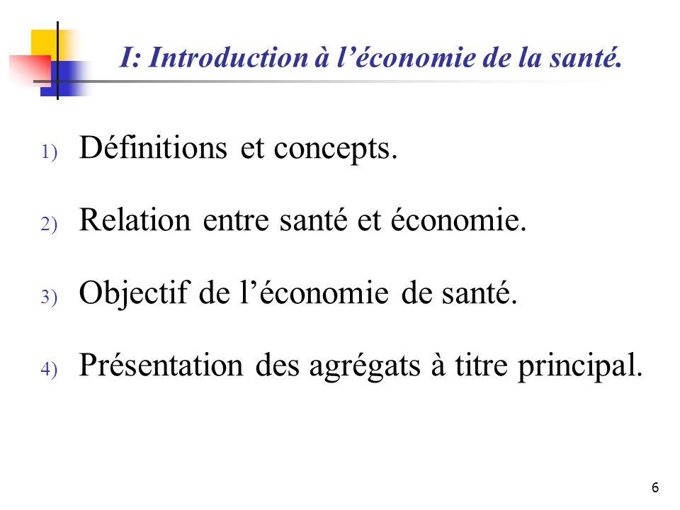 I: Introduction à l'économie de la santé.