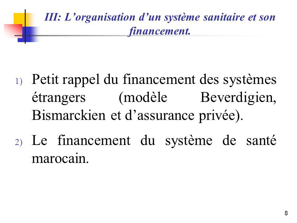 III: L'organisation d'un système sanitaire et son financement.