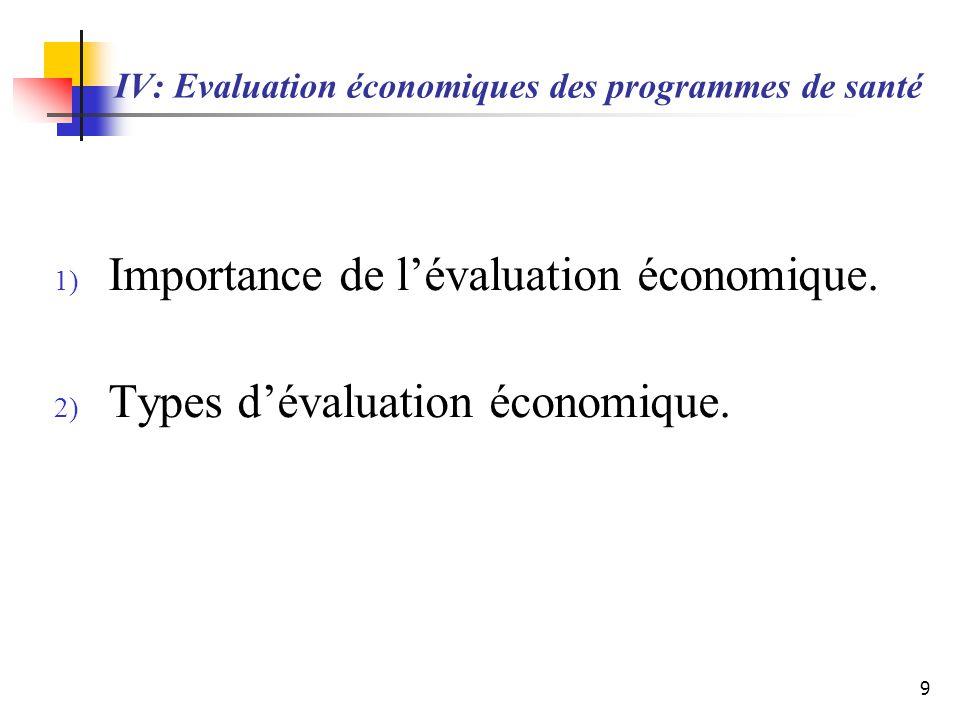 IV: Evaluation économiques des programmes de santé