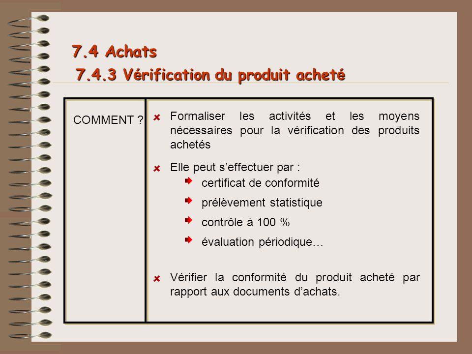 7.4 Achats 7.4.3 Vérification du produit acheté