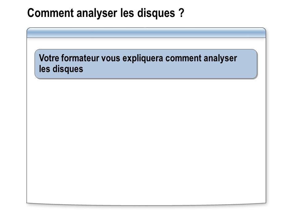 Comment analyser les disques