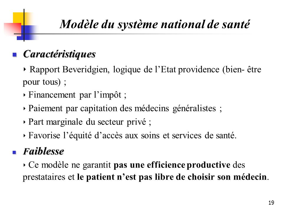 Modèle du système national de santé