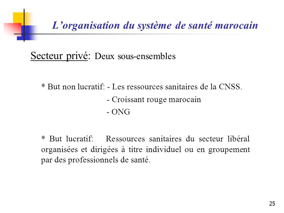 L'organisation du système de santé marocain
