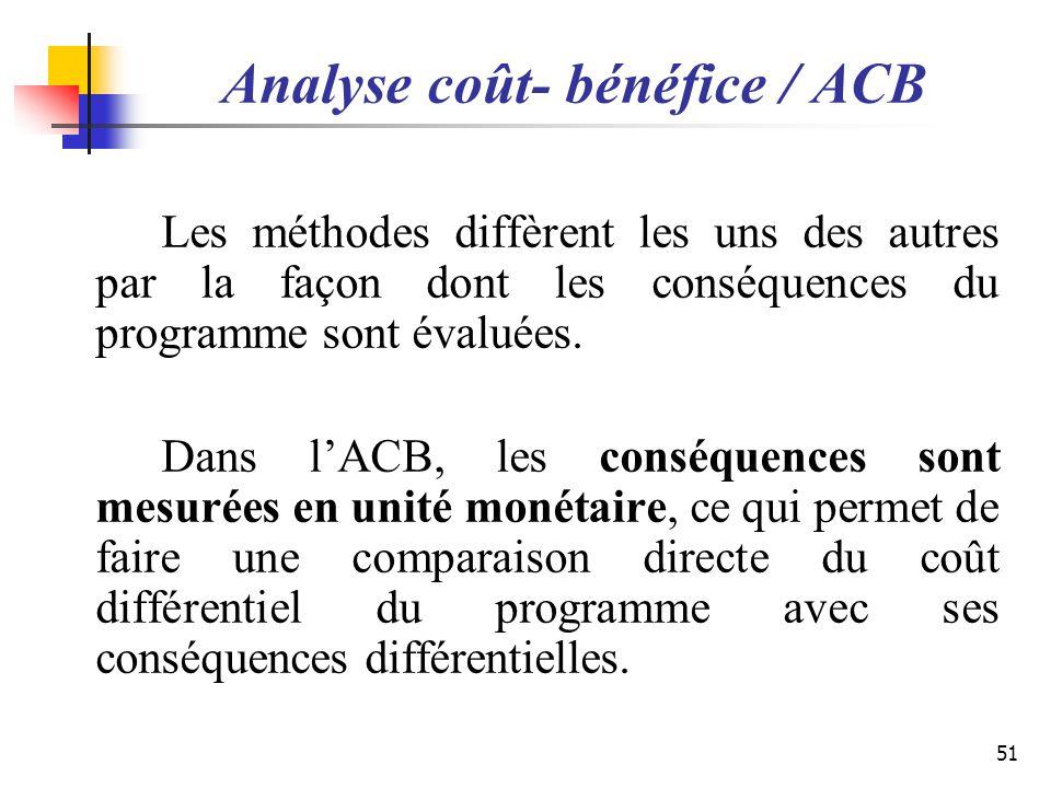 Analyse coût- bénéfice / ACB