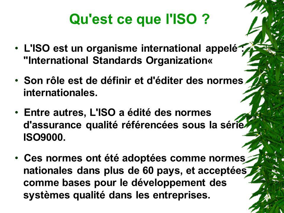 Qu est ce que l ISO L ISO est un organisme international appelé : International Standards Organization«