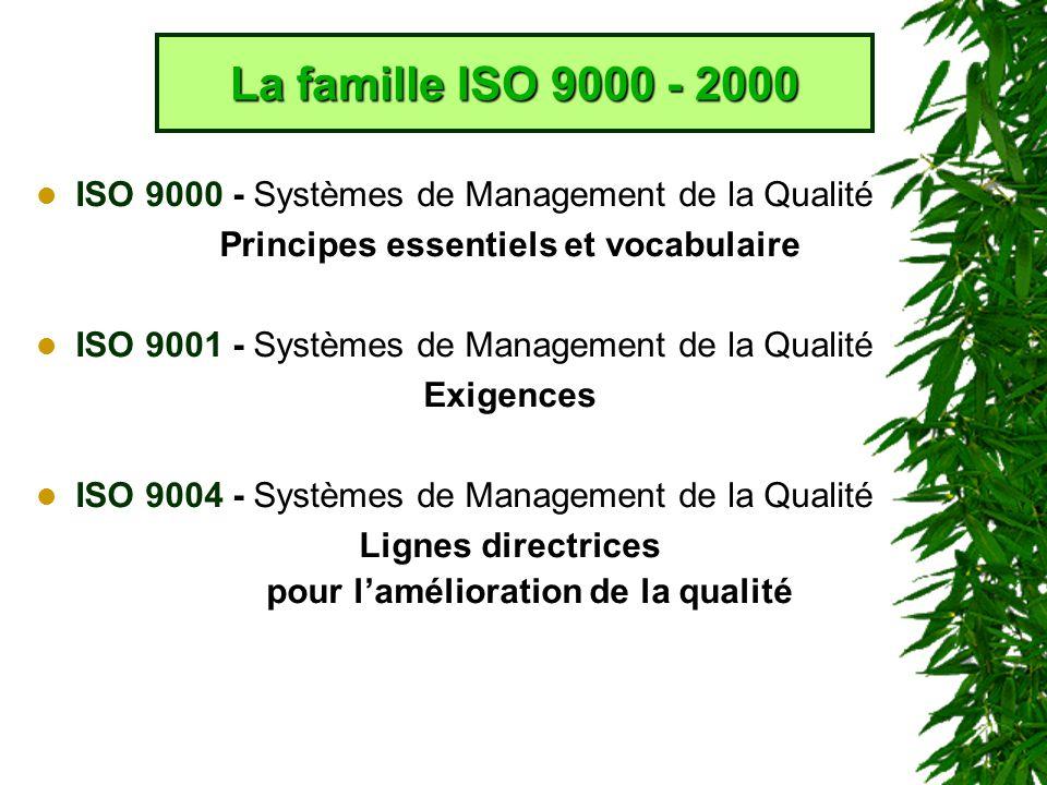 La famille ISO 9000 - 2000 ISO 9000 - Systèmes de Management de la Qualité. Principes essentiels et vocabulaire.