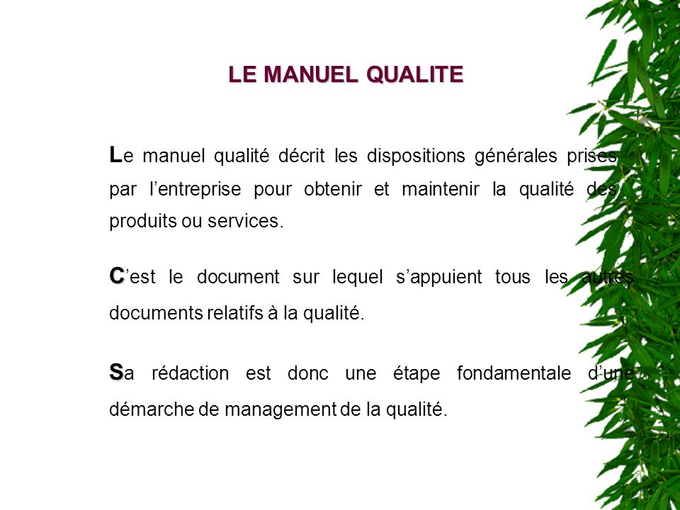 LE MANUEL QUALITE