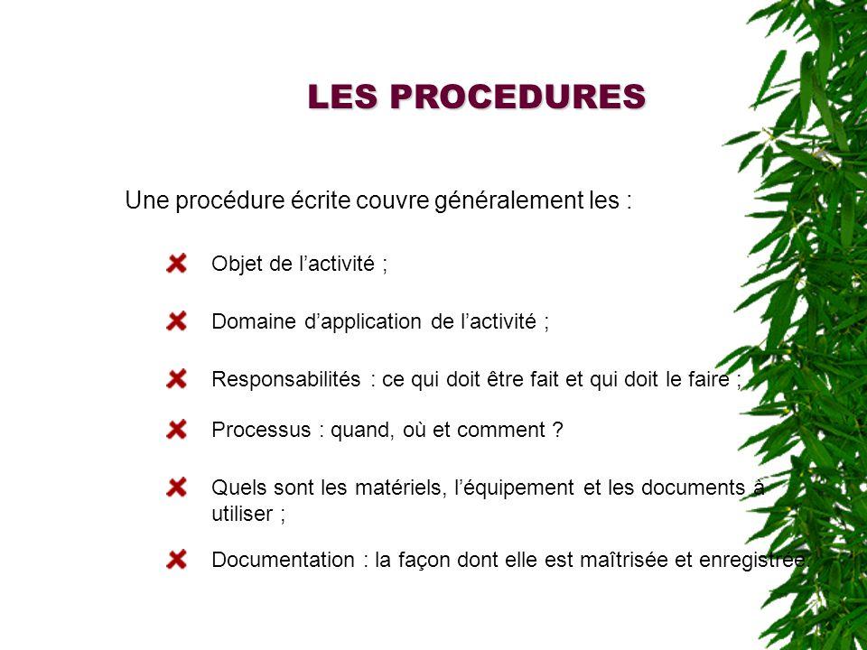 LES PROCEDURES Une procédure écrite couvre généralement les :