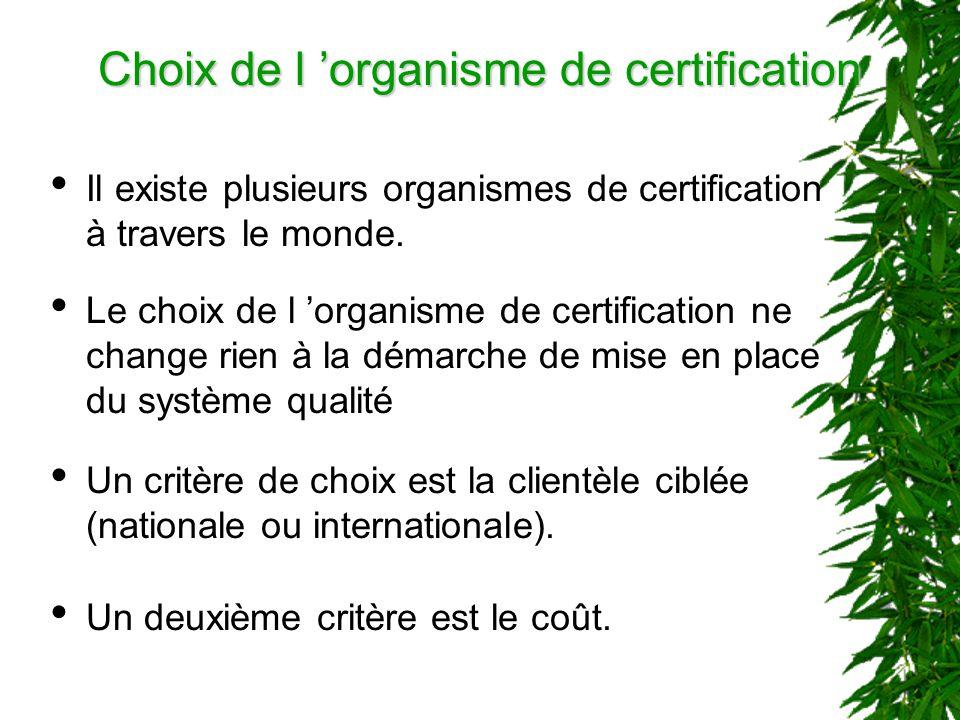 Choix de l 'organisme de certification