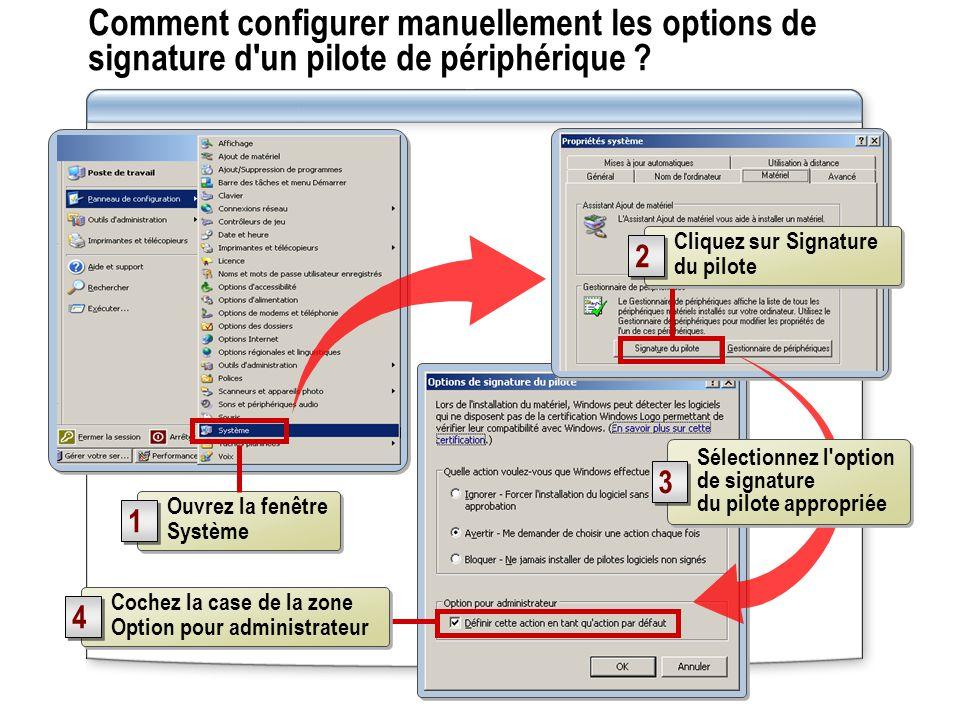 Comment configurer manuellement les options de signature d un pilote de périphérique