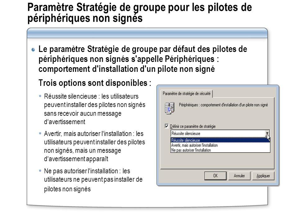 Paramètre Stratégie de groupe pour les pilotes de périphériques non signés