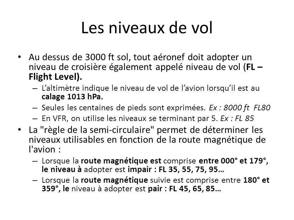 Les niveaux de vol Au dessus de 3000 ft sol, tout aéronef doit adopter un niveau de croisière également appelé niveau de vol (FL – Flight Level).