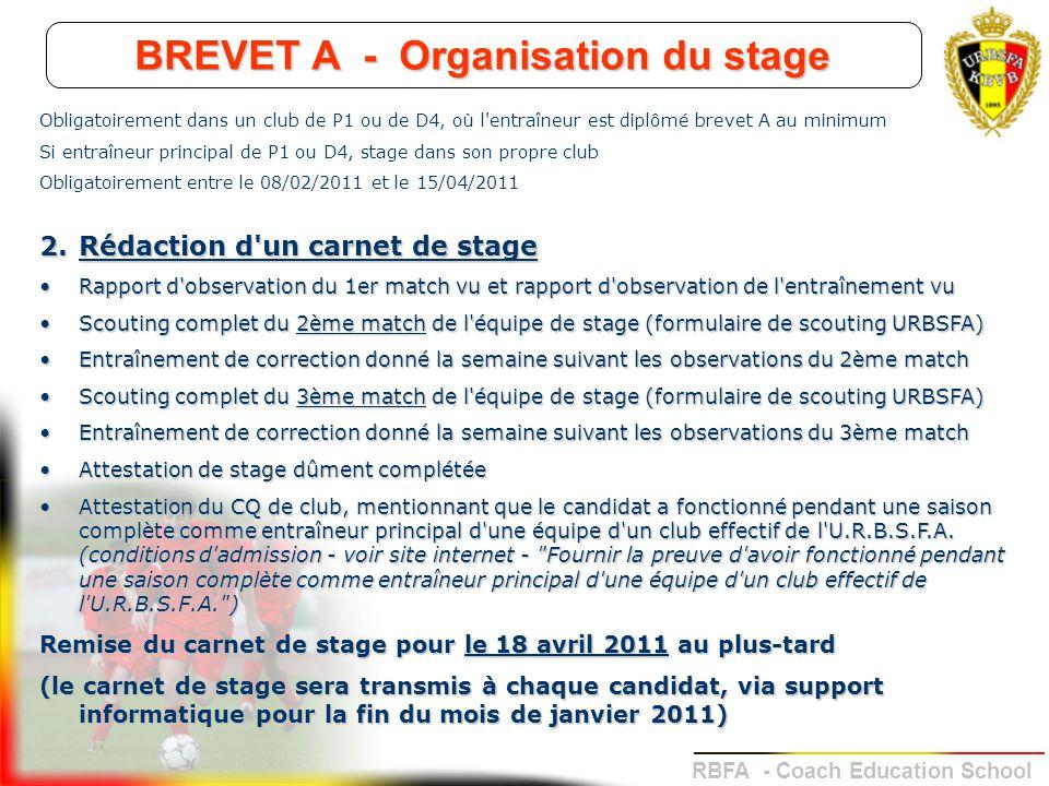 BREVET A - Organisation du stage