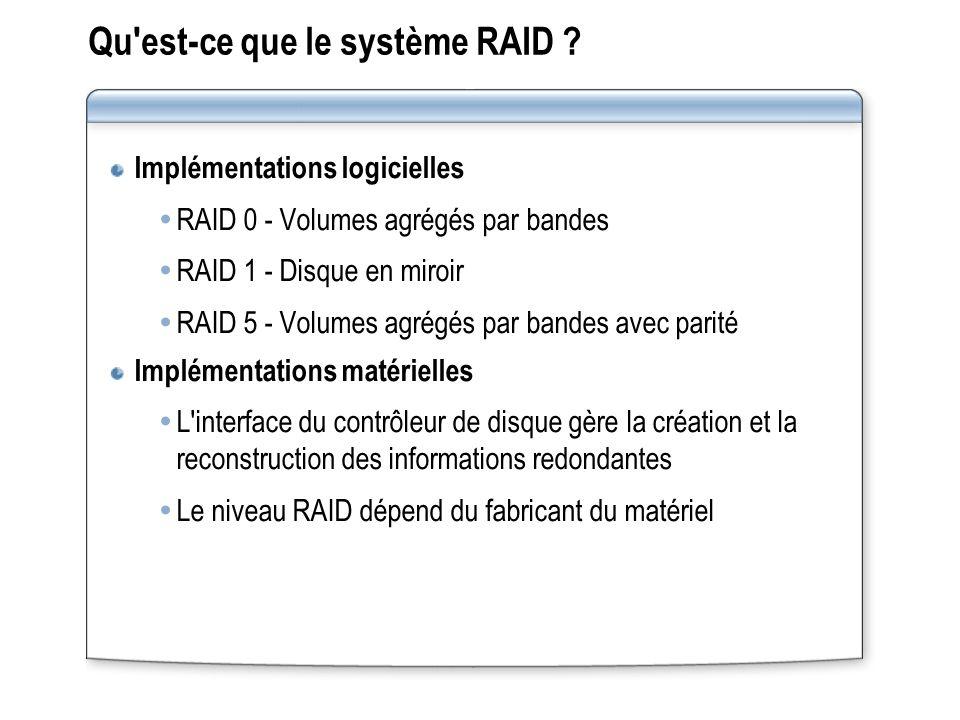 Qu est‑ce que le système RAID