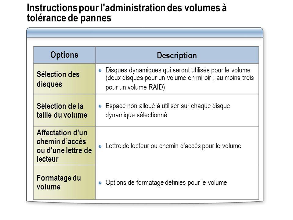 Instructions pour l administration des volumes à tolérance de pannes