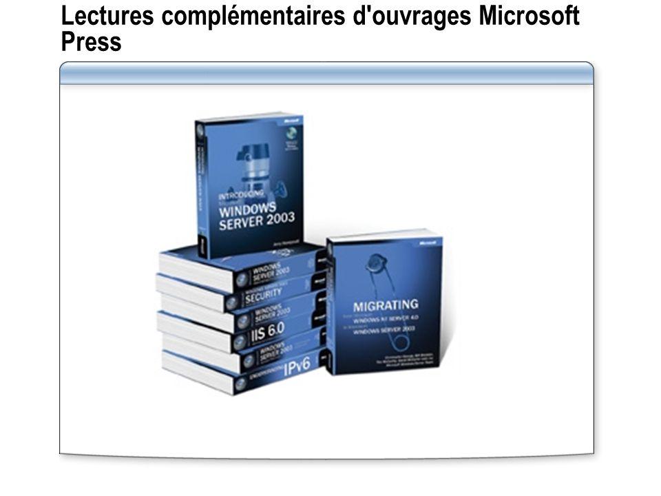 Lectures complémentaires d ouvrages Microsoft Press