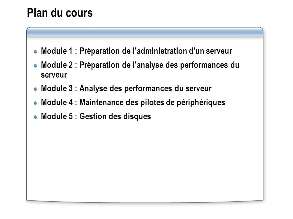 Plan du cours Module 1 : Préparation de l administration d un serveur