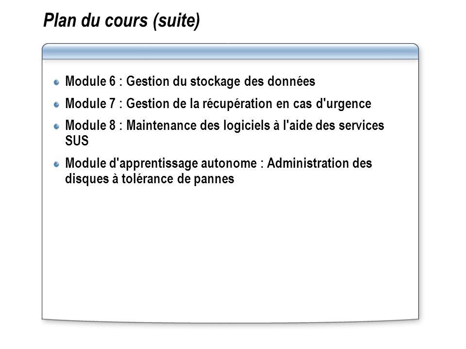 Plan du cours (suite) Module 6 : Gestion du stockage des données