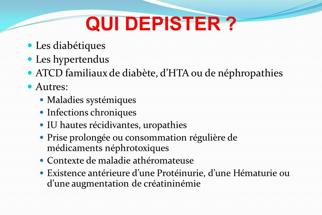 QUI DEPISTER Les diabétiques Les hypertendus