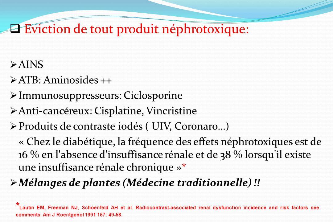 Eviction de tout produit néphrotoxique: