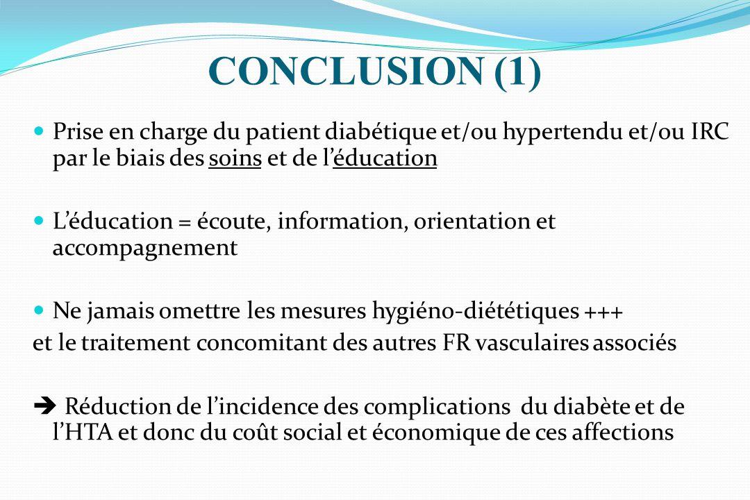 CONCLUSION (1) Prise en charge du patient diabétique et/ou hypertendu et/ou IRC par le biais des soins et de l'éducation.