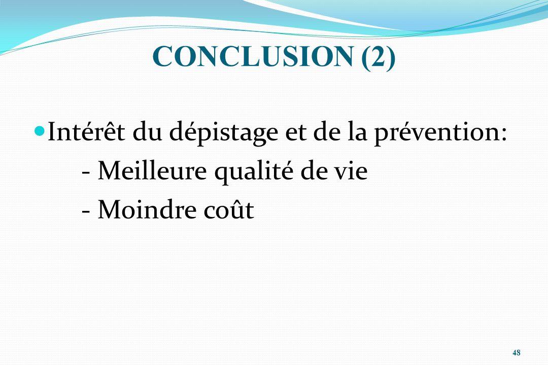 CONCLUSION (2) Intérêt du dépistage et de la prévention: