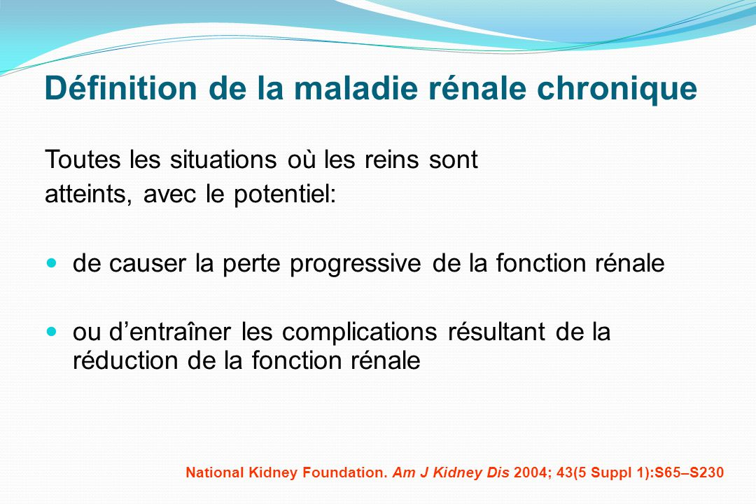 Définition de la maladie rénale chronique