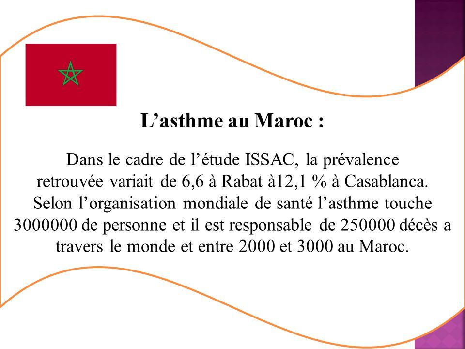L'asthme au Maroc : Dans le cadre de l'étude ISSAC, la prévalence