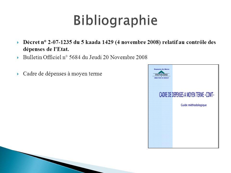 Bibliographie Décret n° 2-07-1235 du 5 kaada 1429 (4 novembre 2008) relatif au contrôle des dépenses de l Etat.