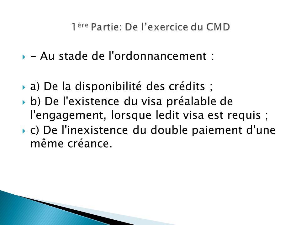 1ère Partie: De l'exercice du CMD