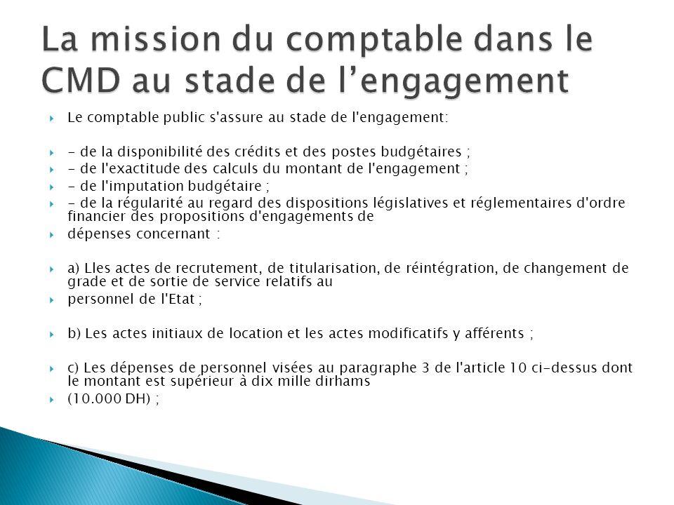 La mission du comptable dans le CMD au stade de l'engagement
