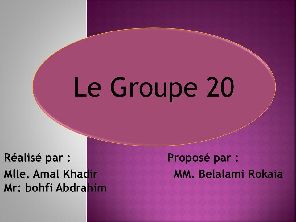 Le Groupe 20 Réalisé par : Proposé par :
