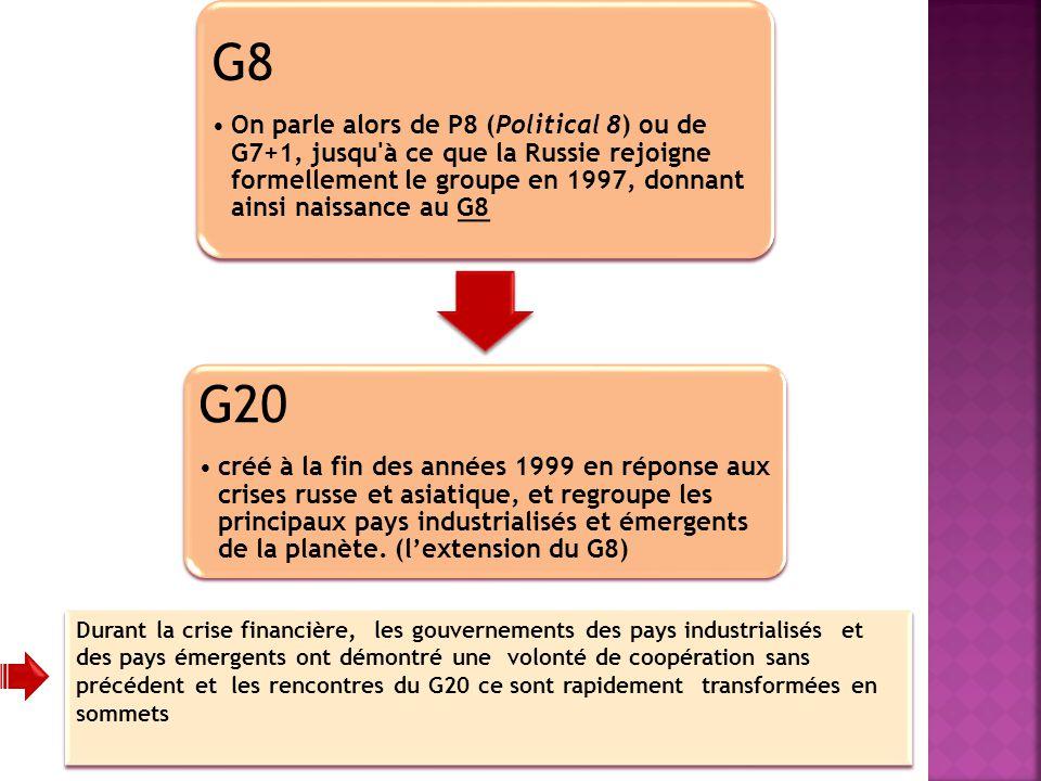 G8 On parle alors de P8 (Political 8) ou de G7+1, jusqu à ce que la Russie rejoigne formellement le groupe en 1997, donnant ainsi naissance au G8.