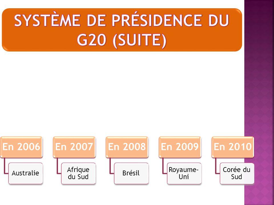 système de présidence du G20 (SUITE)