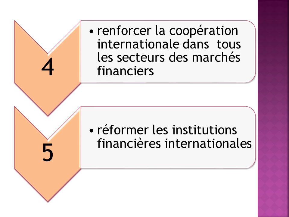 4 renforcer la coopération internationale dans tous les secteurs des marchés financiers.