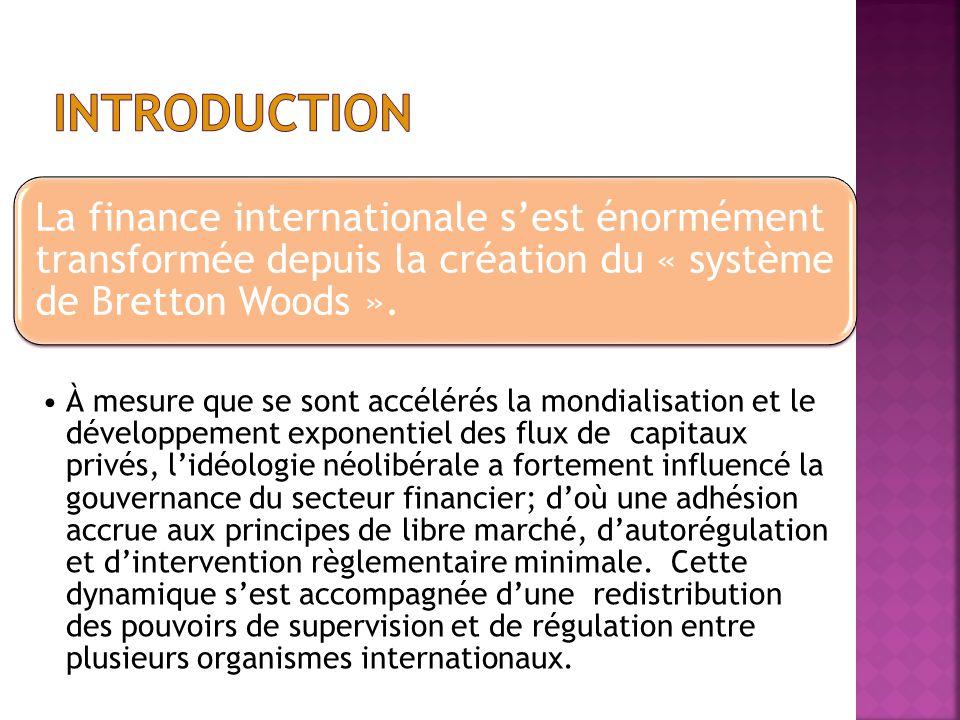 INTRODUCTION La finance internationale s'est énormément transformée depuis la création du « système de Bretton Woods ».