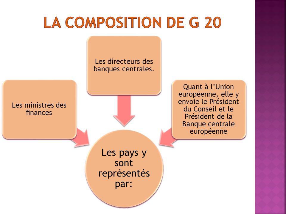 LA Composition de G 20 Les pays y sont représentés par: