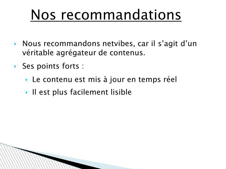 Nos recommandations Nous recommandons netvibes, car il s'agit d'un véritable agrégateur de contenus.