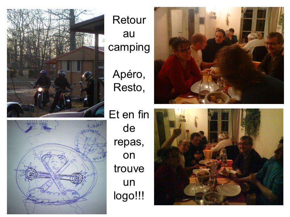 Retour au camping Apéro, Resto, Et en fin de repas, on trouve un logo!!!