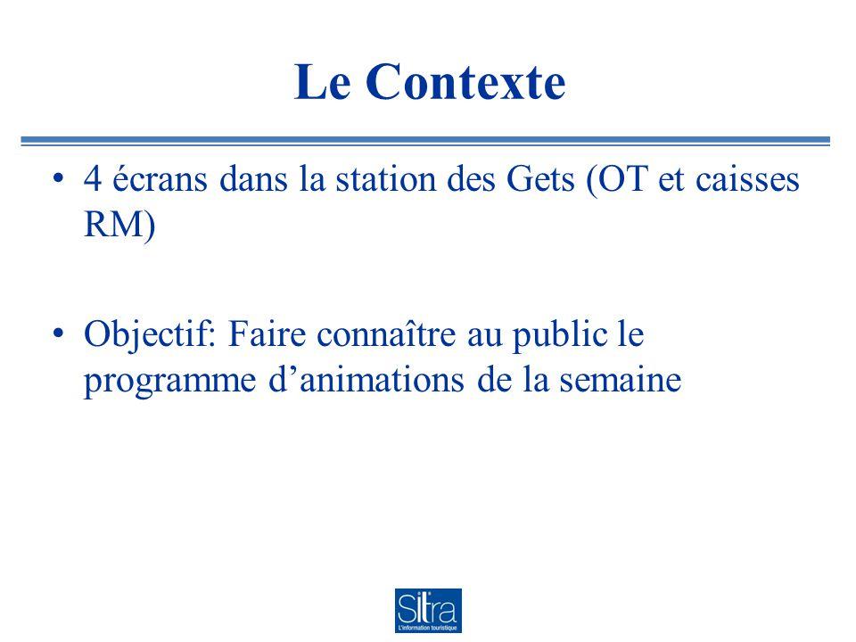 Le Contexte 4 écrans dans la station des Gets (OT et caisses RM)