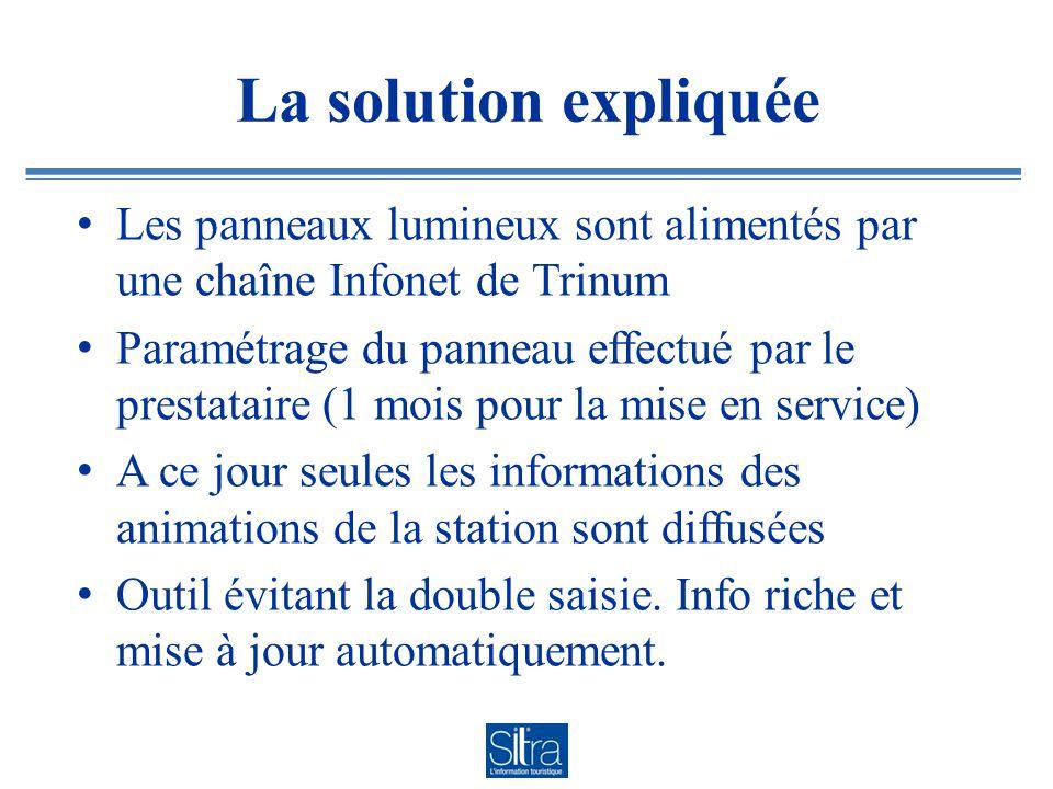 La solution expliquée Les panneaux lumineux sont alimentés par une chaîne Infonet de Trinum.