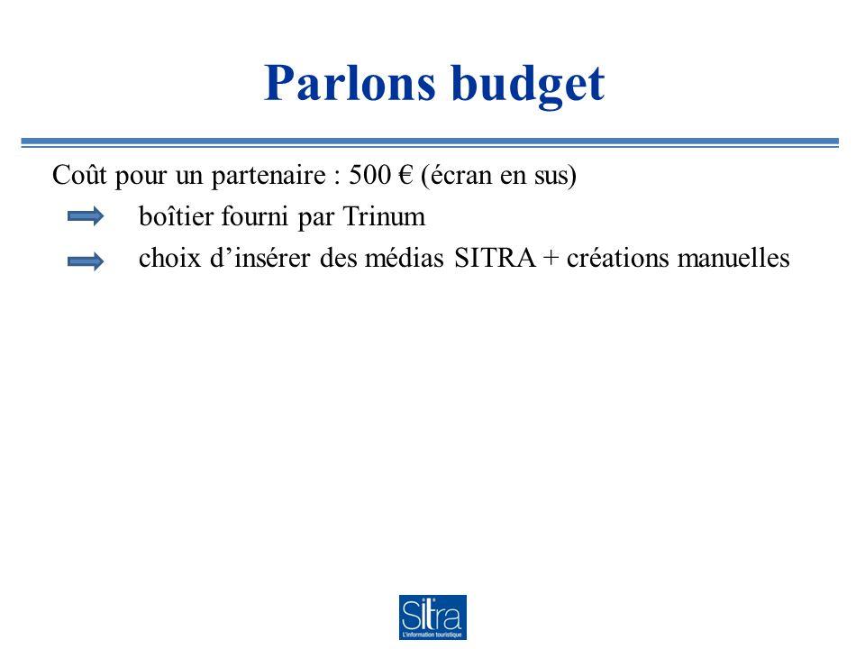 Parlons budget Coût pour un partenaire : 500 € (écran en sus) boîtier fourni par Trinum choix d'insérer des médias SITRA + créations manuelles